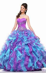 Long Ruffle Dress Designs Ideas With Multi Colored For