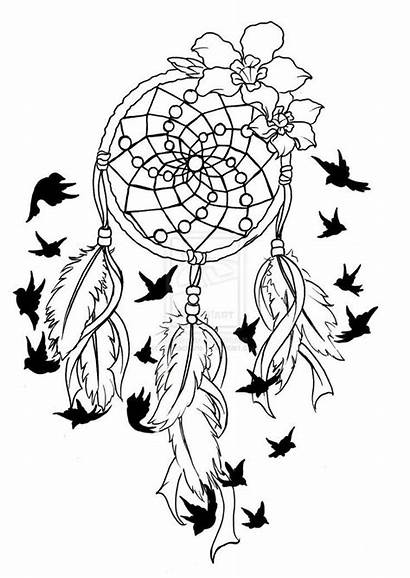 Coloring Pages Catcher Dream Tattoo Feather Birds
