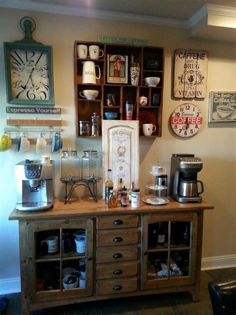 This home coffee bar has a cake platter to emphasize the homey look. 25 Best Corner Coffee Wine Bar | Coffee bar home, Diy ...