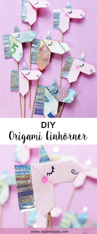 geldscheine kreativ zum origami einhorn falten diy