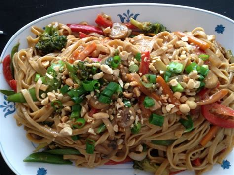 thai noodles recipe thai noodles with spicy peanut sauce recipe genius kitchen
