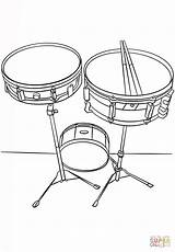 Coloring Drums Snare Musical Instruments Printable Drawing sketch template
