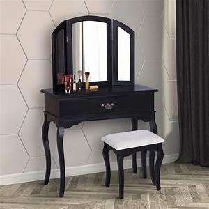 Commode Noir Et Bois : homcom coiffeuse table de maquillage commode coiffer avec tabouret tiroir et miroir en bois ~ Teatrodelosmanantiales.com Idées de Décoration