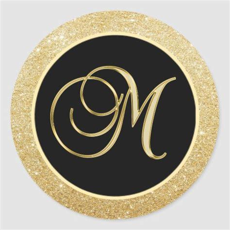 elegant monogram letter  black gold glitter seals zazzlecomau