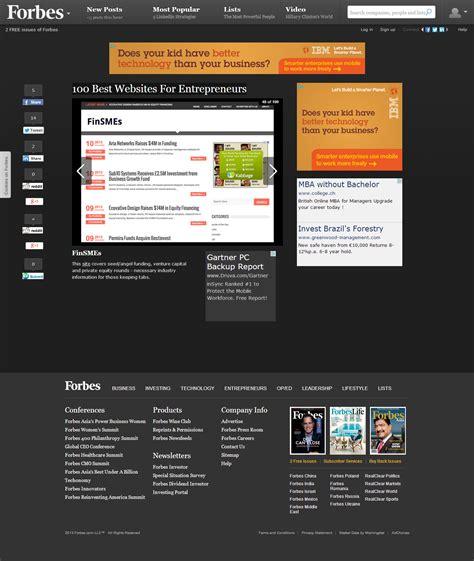 Finsmes In Forbes 100 Best Websites For Entrepreneurs Finsmes