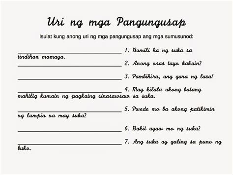 worksheets uri ng pangungusap worksheet exle
