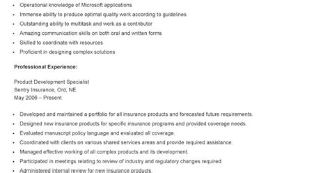 resume sles sle product development specialist resume