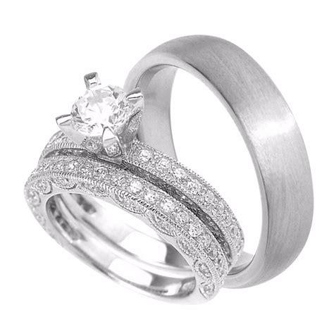 wedding rings set sterling silver wedding