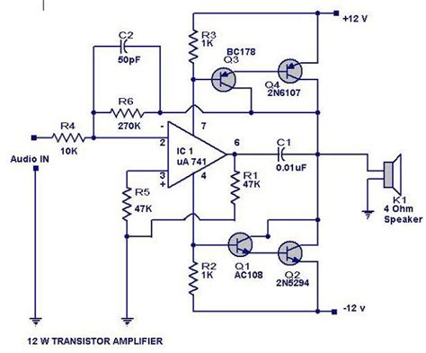 Watts Transistor Amplifier Circuit Diagram Electrical
