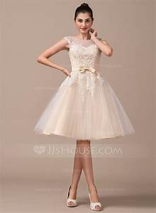 a line princess scoop neck knee length tulle wedding dress With knee length wedding dress