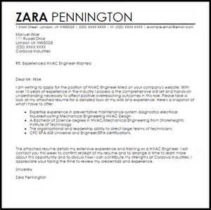 Hvac Resume Cover Letter Template by Hvac Engineer Cover Letter Sle Livecareer