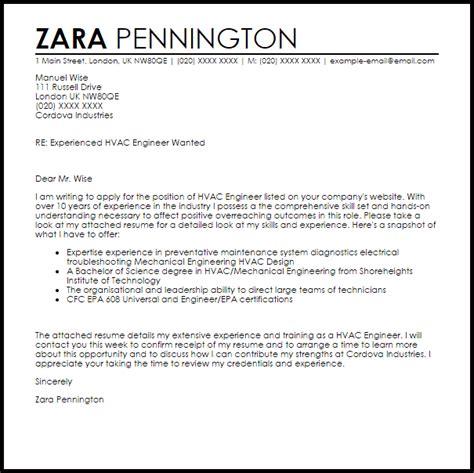 hvac engineer cover letter sle livecareer