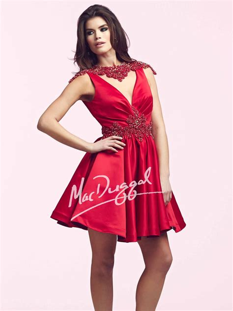 Mac duggal gowns have the elegance and beauty in it. Mac Duggal 48194N Deep V Neck Short Dress: French Novelty