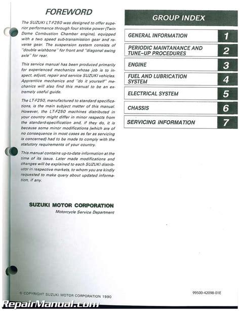 how to download repair manuals 1988 suzuki swift parking system 1988 1998 suzuki lt f250 quadrunner service repair manual