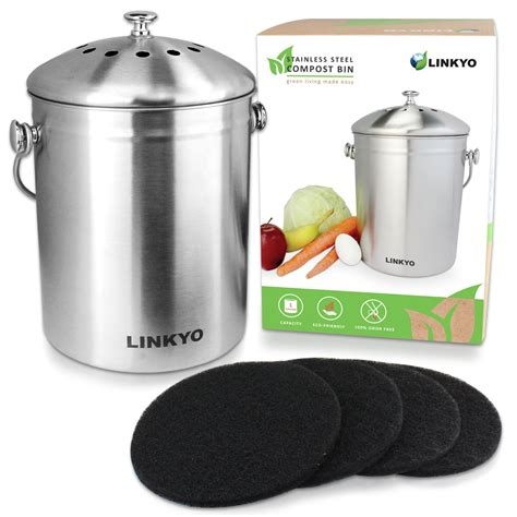 kitchen compost bin linkyo kitchen compost bin 1 gallon stainless steel