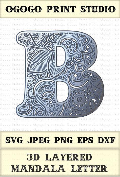 letter layered mandala svg zentangle svg monogram svg   printing design bundles