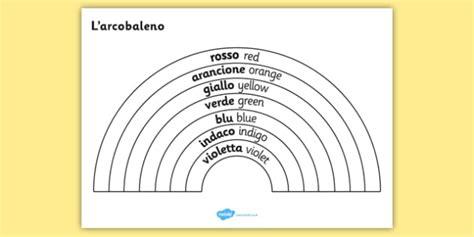 color in translation rainbow colours italian translation colouring sheet