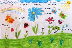children 39 s drawing with butterflies and flowers stock photo colourbox