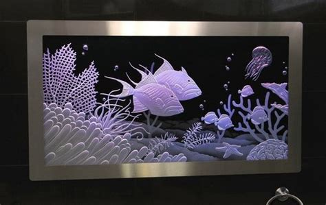 hand  illuminated carved etched glass built