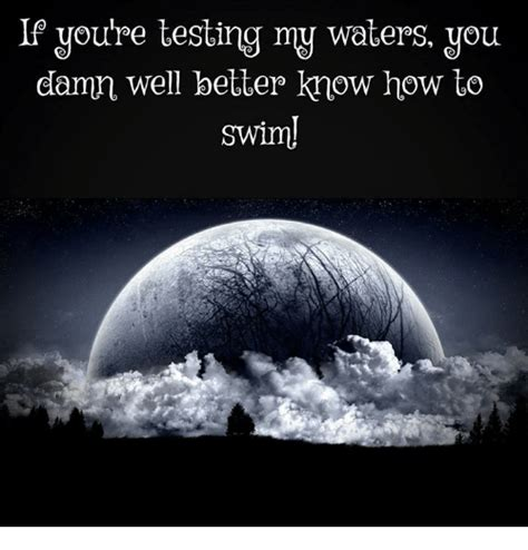 If You're Testing My Waters You Damn Well Better Know How