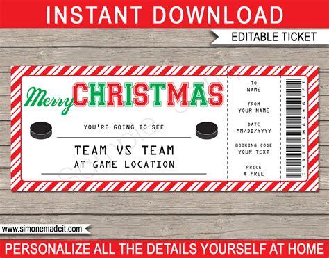 christmas hockey ticket gift voucher printable hockey