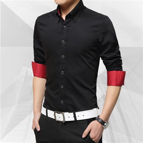 2016 Spring Autumn Nice style for men/father solid color button Dress Shirts turn down collar ...