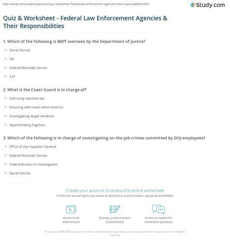 quiz worksheet federal law enforcement agencies