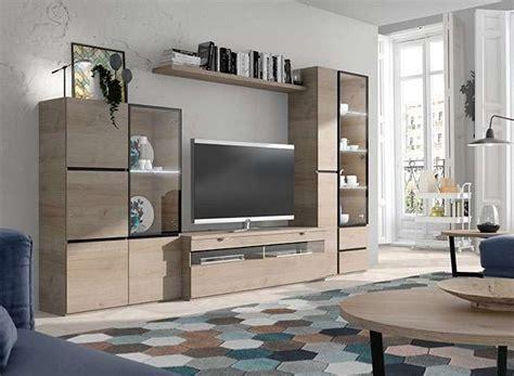 mueble  tv modular  vitrinas laterales madera