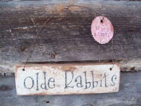 Primitive Olde Rabbits Wood Sign Garden Spring Decor