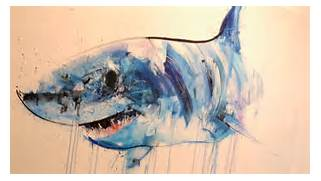 great-white-shark-painting jpg  Great White Shark Painting