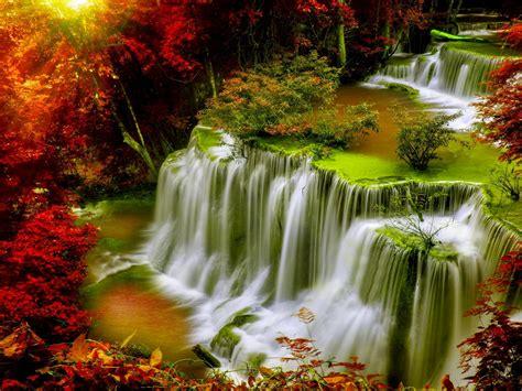 Cascade Falls-Autumn-forest-red leaves-sunlight-Desktop HD ...