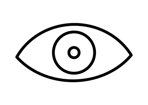 simple eye clipart black and white eye outline vector icon