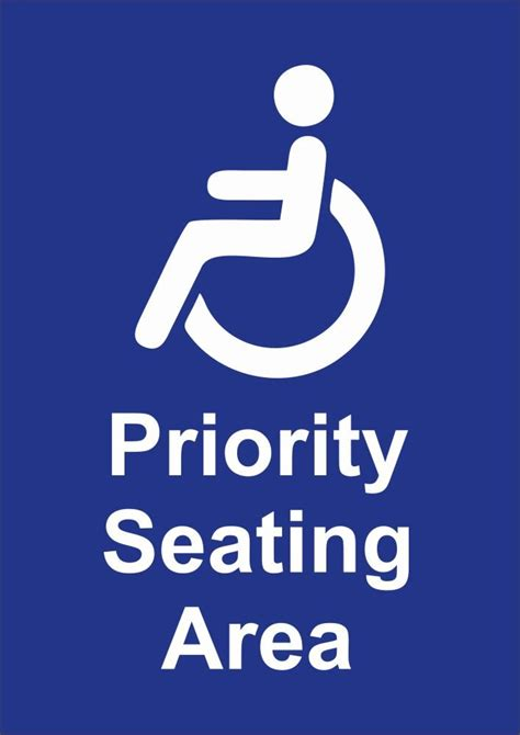 Disabled Priority Seating Sign - Downloadable Sign