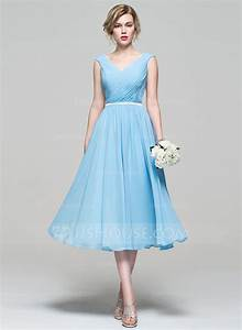 a line princess v neck tea length chiffon bridesmaid dress With cocktail length wedding dresses