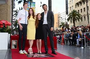 Julianne Moore and her family, Bart, Caleb, and Liv ...