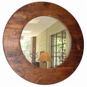 Large round barn wood mirror at 1stdibs