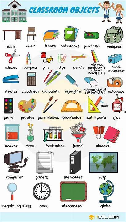 Vocabulary Objects Words Equipment There Classroom English