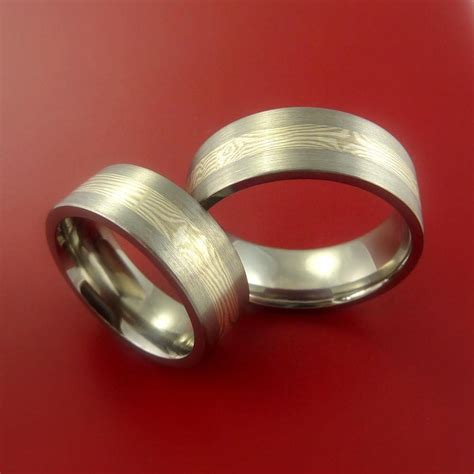 matching mokume  palladium  titanium rings wedding