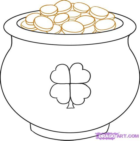how to draw a pot of gold step by step st patricks day seasonal free drawing tutorial