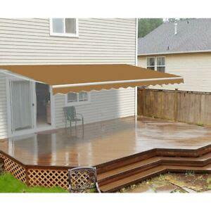 aleko motorized retractable patio awning    ft sand color  ebay