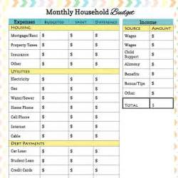 Printable Monthly Budget Worksheet PDF