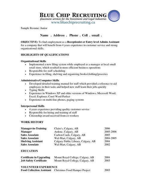 Receptionist Position Resume by Receptionist Resume Objective Sle Http