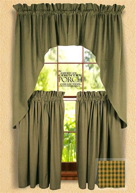 Cottage Green Minicheck Window Curtain Swags