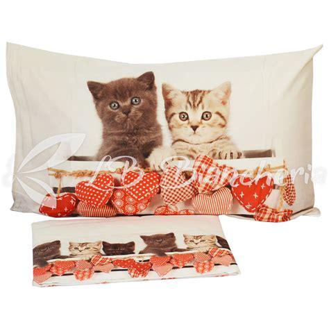 completo lenzuola gatti shabby love stampa digitale  piazza letto singolo lbbiancheria
