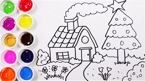 Como Dibujar Y Colorear Una Casa Con Arbol De Pino