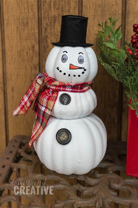 upcycled pumpkin snowman domestically creative
