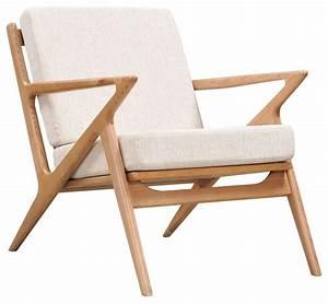 Limn midcentury modern chair, ash wood z frame, Off-White