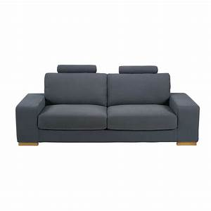 Canape convertible avec tetieres 3 places en tissu gris for Tapis moderne avec canapé tissu gris 3 places