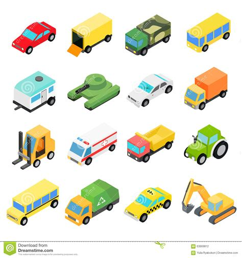 Types Of Automobiles Isometric Set Stock Vector