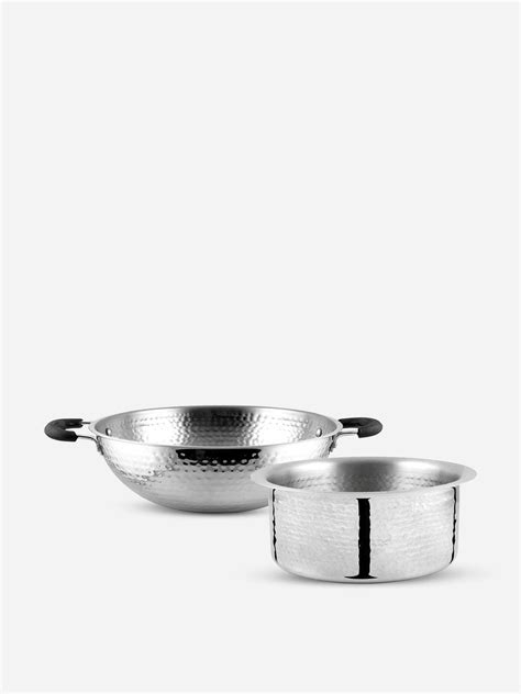 buy stainless steel hammered cookware set set    men    price shri sam